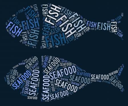 fish chips: Pescado y marisco gr�fica de texto y el concepto de acuerdo en fondo azul. Archivo muy grande.