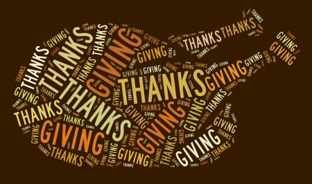 Thanksgiving text graphic and arrangement concept on brown background.