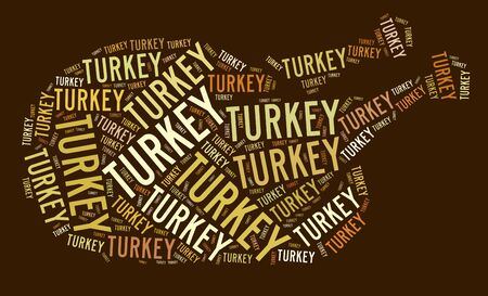 Roasted turkey shape text graphic and arrangement concept on brown background.