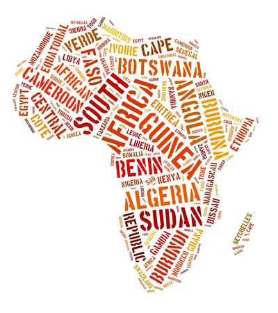 Africa continent text graphic and arrangement concept on white background.