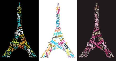 tricolour: Eiffel Tower text graphic illustration on tri-colour background Stock Photo