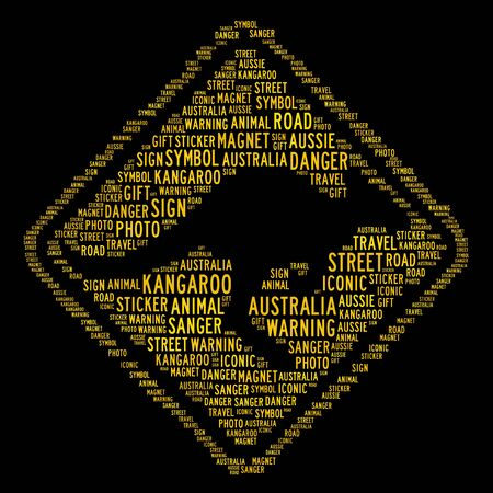 Kangaroo crossing symbol - text arrangement illustration on black background illustration