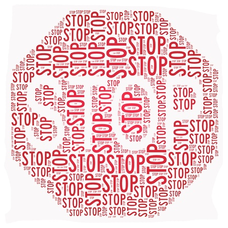 Stop sign text graphic illustration isolated on white Stock Illustration - 13138084