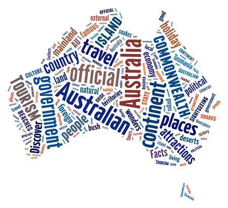 Australia continent symbol - text illustration arrangement on white background