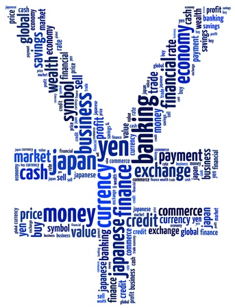 Japanese Yen currency money symbol in abstract text graphic illustration