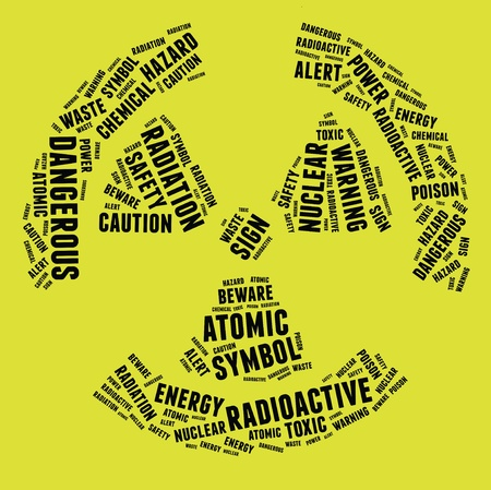 Radioactive warning sign symbol in text illustration on yellow background