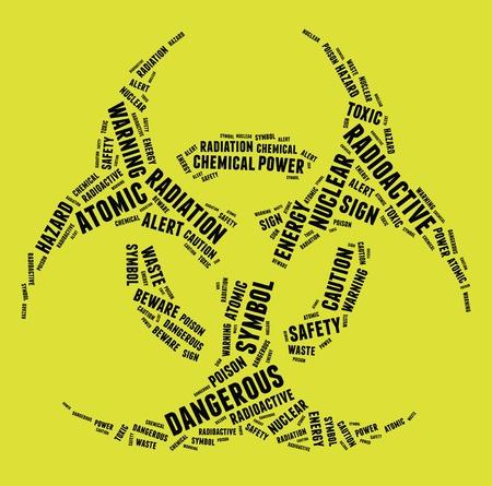chemical hazard: Bio-Hazard warning sign symbol in text illustration on yellow background