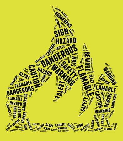 combustible: Highly flammable warning sign in text arrangement illustration on yellow background  Danger concept