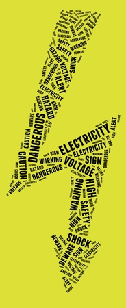 lightning arrow: High voltage sign in text arrangement illustration on yellow background  Danger concept