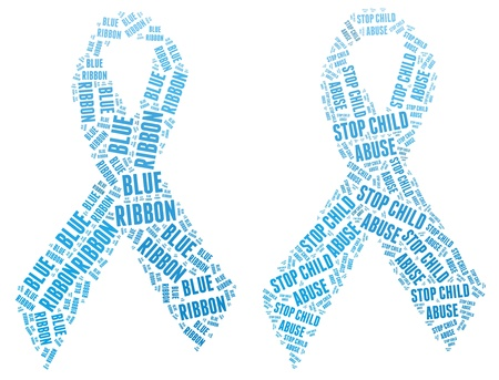 Blue ribbon campaign made from word illustrations isolated on white