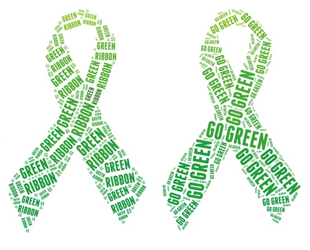 Green ribbon campaign made from word illustrations isolated on white