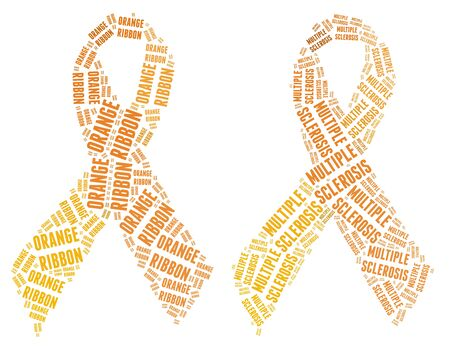 Orange ribbon campaign made from word illustrations isolated on white  Stock Photo