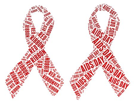Red ribbon campaign made from word illustrations isolated on white