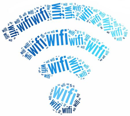 WiFi icon made from words illustration