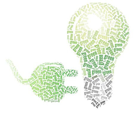 Green bulb and power plug made with green words illustration  Ecology and Green concept