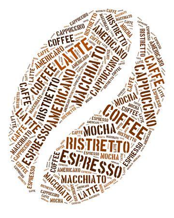 Coffee bean in words arrangement graphic illustration