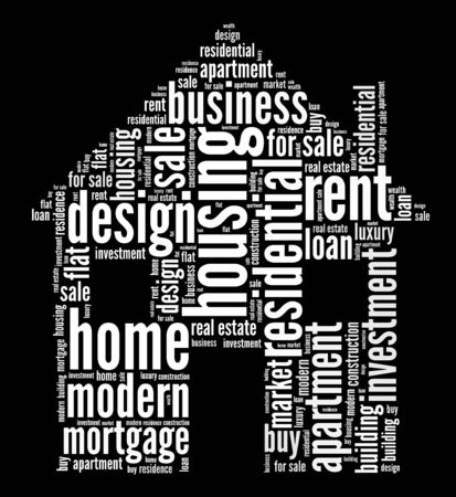 Housing concept in words arrangement graphic illustration Standard-Bild