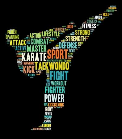 Martial arts concept in words arrangement graphic illustration Standard-Bild
