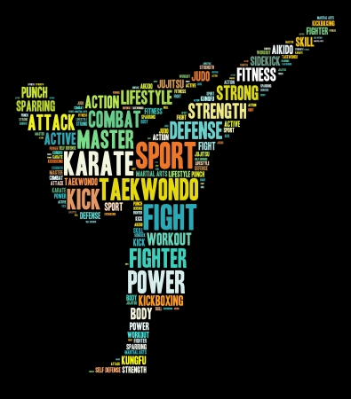Martial arts concept in words arrangement graphic illustration Stock Photo