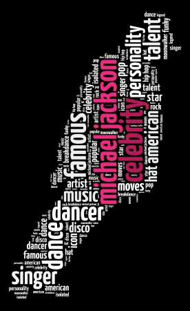Michael Jackson info-text graphics and arrangement word clouds concept