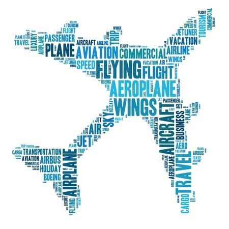 Aeroplane info-text graphics and arrangement word clouds concept Standard-Bild