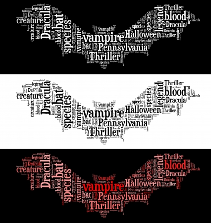 Vampire bat info-text graphics and arrangement word clouds concept  Very large file