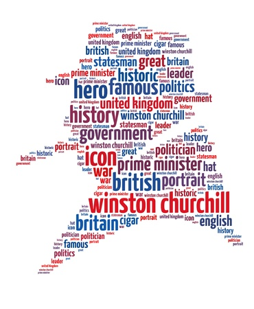 statesman: Winston Churchill info-text graphics and words cloud concept