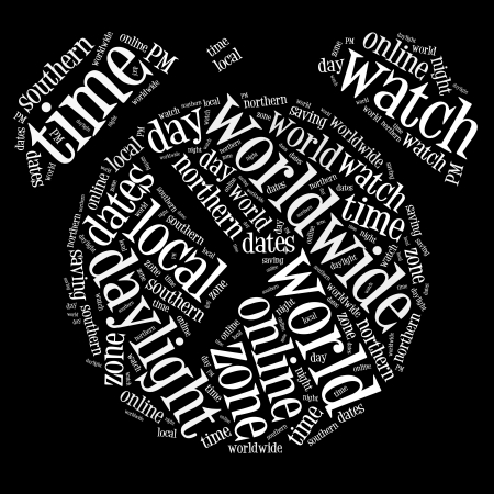 Clock info-text graphics and words cloud concept