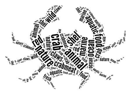 Crab info-text graphics arrangement and words cloud concept Standard-Bild