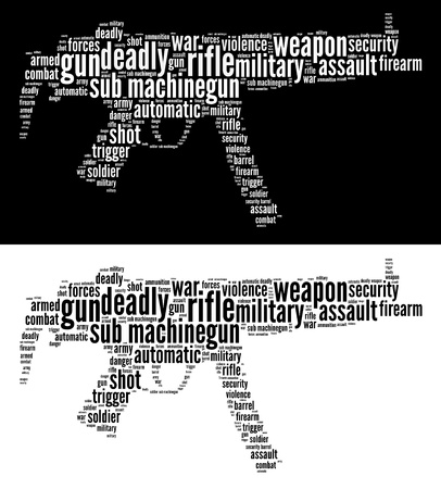 Sub machine-gun info-text graphics and words cloud concept. Very large file.