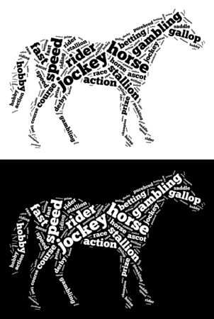 Race horse info-text graphics and words cloud. Horse and gambling concept.