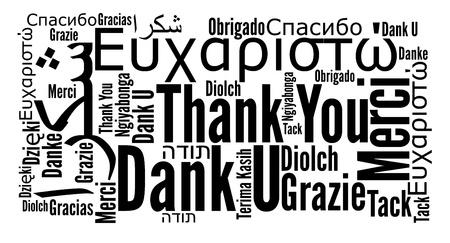 te negro: Gracias frase en diferentes idiomas. Palabras concepto de nube.