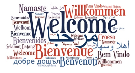 idiomas: Bienvenido frase en diferentes idiomas. Palabras concepto de nube. Foto de archivo