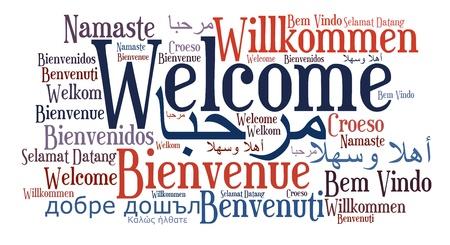 vítejte: Welcome fráze v různých jazycích. Slova mrak pojetí. Reklamní fotografie