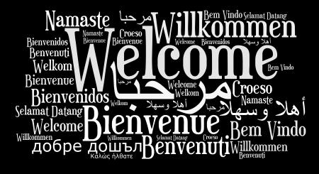 bienvenidos: Bienvenido frase en diferentes idiomas. Palabras concepto de nube. Foto de archivo