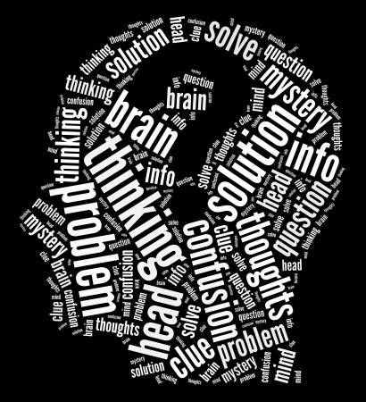 Mind thoughts info-text graphics arrangement and words cloud concept.