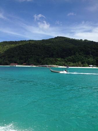 A speed boat sped past Lang Tengah Island in Terengganu Malaysia