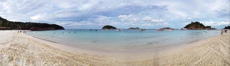 redang: Panoramic view of the Long Beach at Redang Island in Terengganu Malaysia Stock Photo