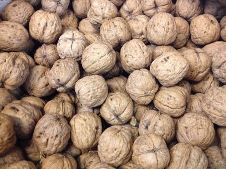 Walnuts on sale at the local supermarket Stock Photo