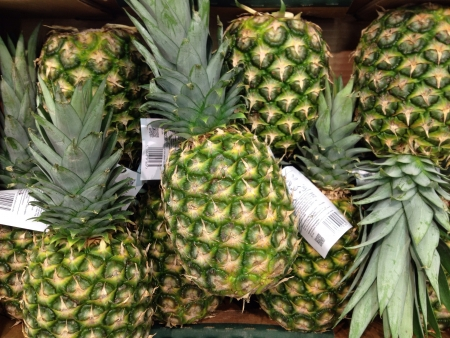 Pineapples on sale at the local supermarket