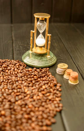 Delicious custard coffee in cups on the background of coffee beans Stockfoto