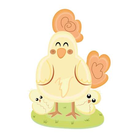 Mother hen with chicks. Kawaii animal cartoon - Vector
