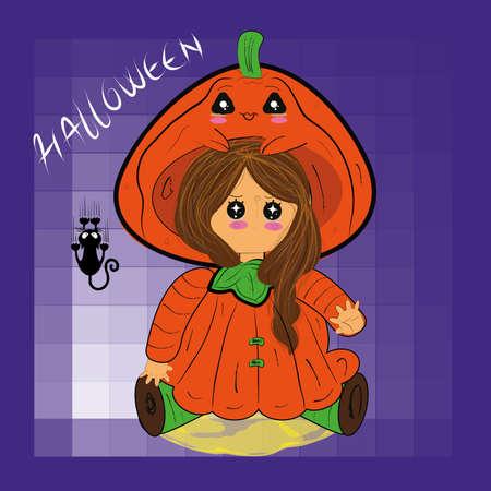 Girl disguised as a pumpkin. Halloween costume kawaii - Vector
