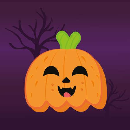Happy pumpkins cartoon in a dark night. Halloween season - Vector