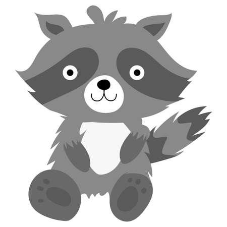 Cartoon of a raccoon kawaii - Vector illustration
