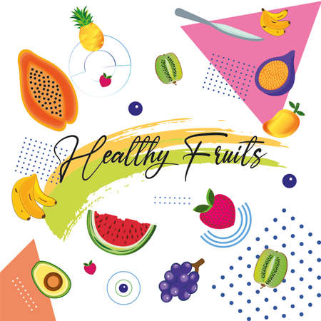 Healthy fruits poster. Healthy lifestyle - Vector illustration