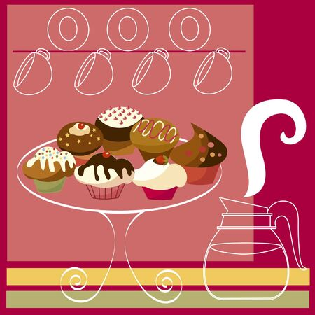 Vector image of dessert background