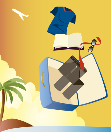 Vector image of vacation with man suitcase Vectores