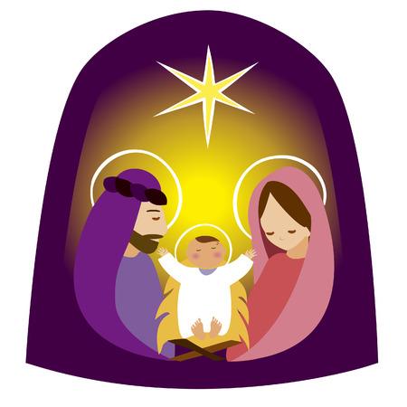 biblical: Vector image of Baby Jesus in a manger vector Illustration