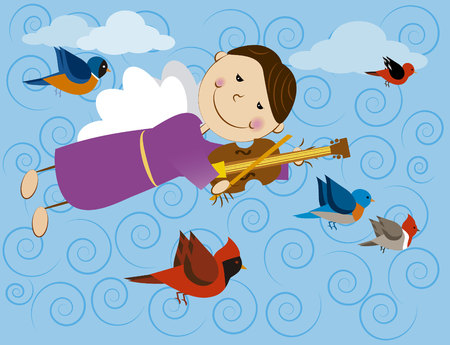 Vector image of angel with birds
